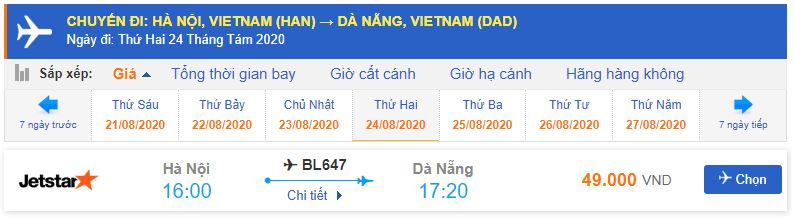 Vé máy bay Jestar đi Đà Nẵng từ Hà Nội