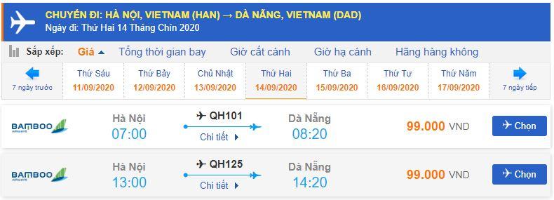 Giá vé máy bay Bamboo Airways đi Đà Nẵng tháng 9