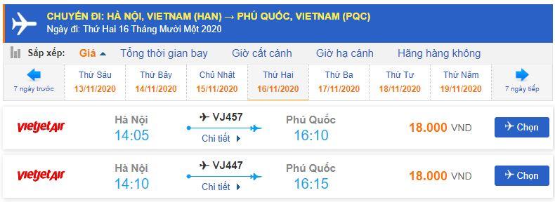 Giá vé máy bay Vietjet Air đi Phú Quốc từ Hà Nội