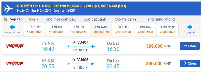 Vé máy bay Hà Nội Liên Khương Vietjet