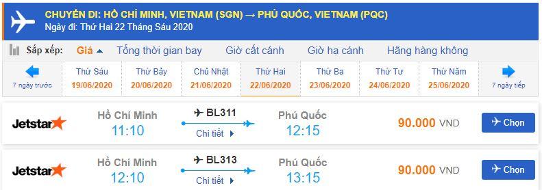 Vé máy bay từ TPHCM đi Phú Quốc Jetstar Pacific