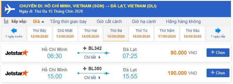 Vé máy bay Đà Lạt của Jetstar Pacific từ Hồ Chí Minh