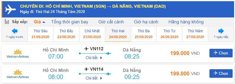 Vé máy bay Hồ Chí Minh đi Đà Nẵng Vietnam Airlines
