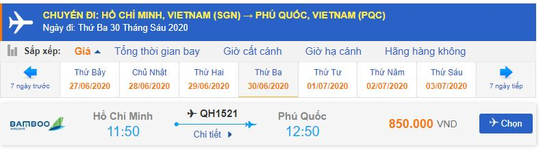 Giá vé máy bay bamboo airways đi Phú Quốc từ Sài Gòn