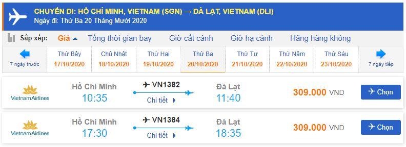 Giá vé máy bay đi Đà Lạt tháng 10 từ Hồ Chí Minh