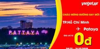 Khuyến mãi khai trương đường bay Hồ Chí Minh – Pattaya Vietjet