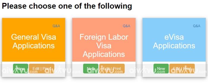Bước 1: Chọn loại visa