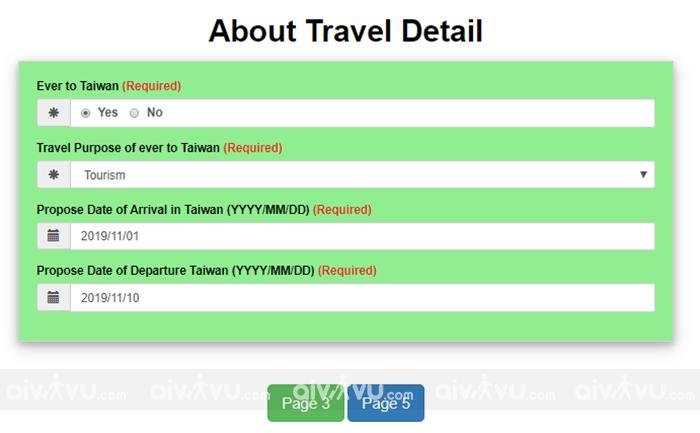 Bước 5: Thông tin về chuyến đi