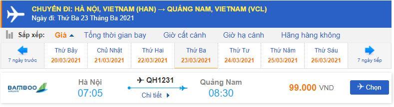 Giá vé máy bay Bamboo Airways đi Chu Lai