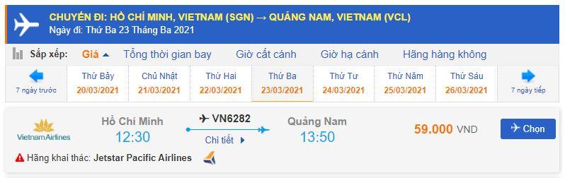 Giá vé máy bay từ TPHCM đi Chu Lai Pacific Airlines