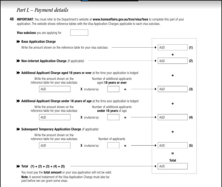 Part L – Payment details