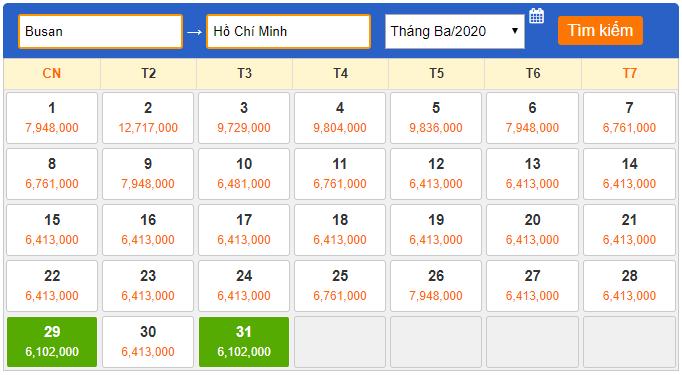 Giá vé Busan đi Hồ Chí Minh Tháng 3