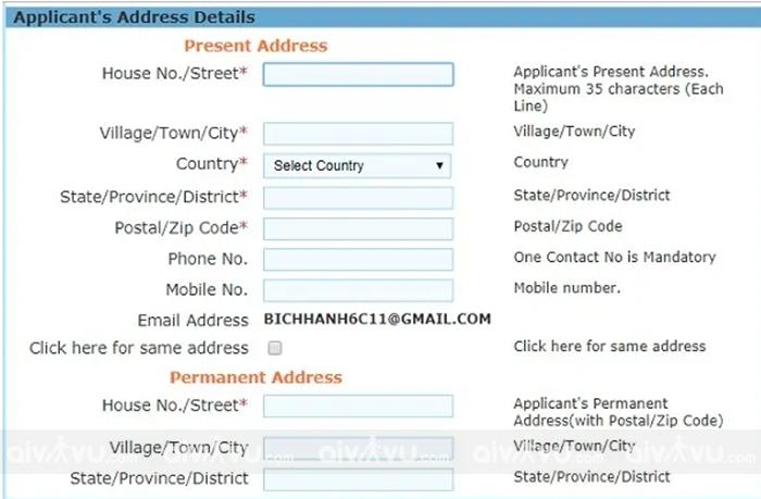 Bước 4: Điền địa chỉ cá nhân trong tờ khai xin visa Ấn Độ
