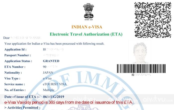 Mẫu visa Ấn Độ online khi được duyệt