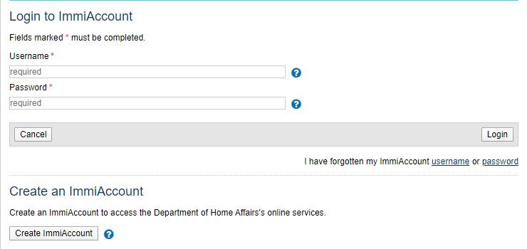 Tạo tài khoản trên website của Bộ nội vụ Úc