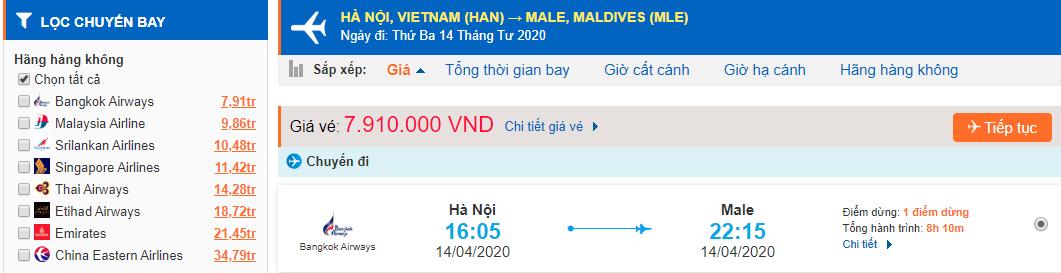 Giá vé máy bay đi Maldives từ Hà Nội