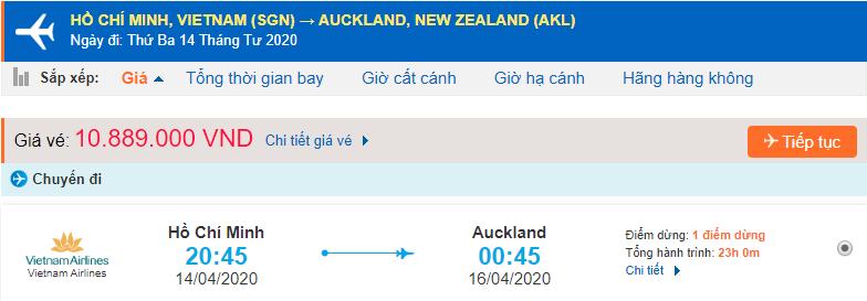 Giá vé máy bay đi New Zealand từ Hồ Chí Minh Vietnam Airlines