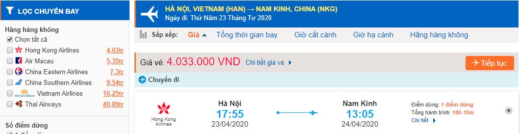 Giá vé máy bay từ Hà Nội đi Nam Kinh