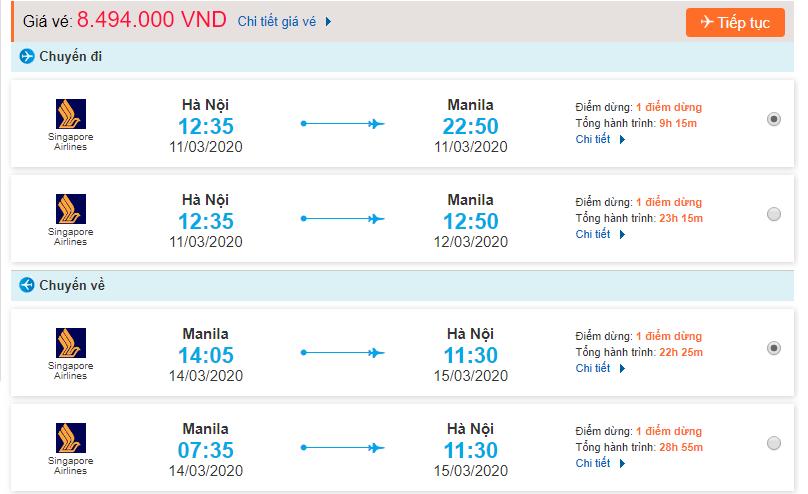 Thông tin tham khảo giá vé và hành trình đi Manila