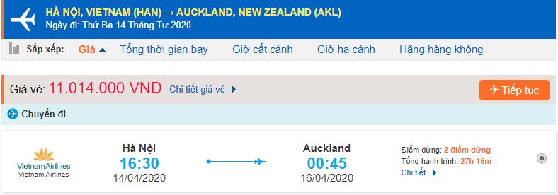 Vé máy bay đi New Zealand Vietnam Airlines