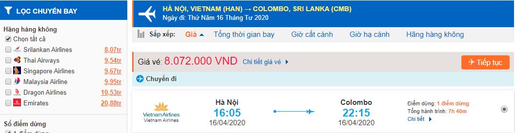 Vé máy bay đi Sri Lanka từ Hà Nội