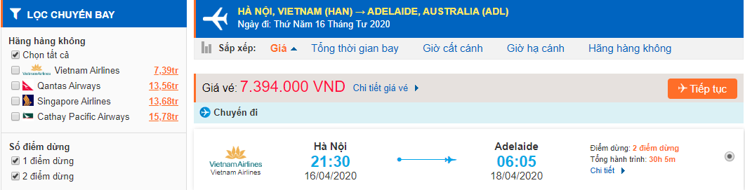 Vé máy bay giá rẻ từ Hà Nội đi Adelaide