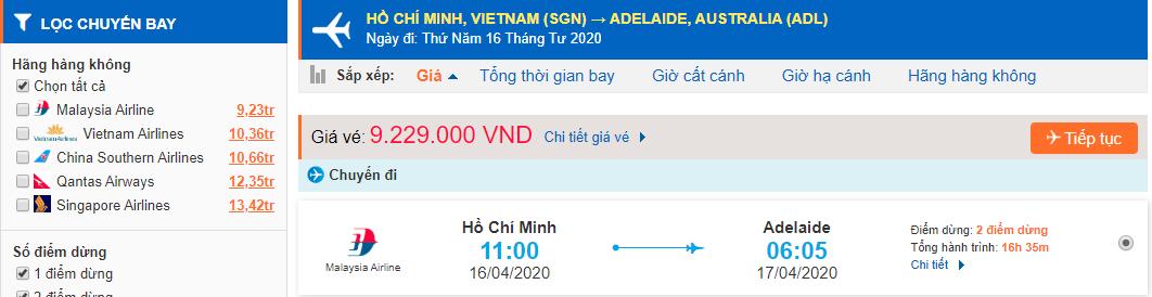Vé máy bay giá rẻ từ Hồ Chí Minh đi Adelaide
