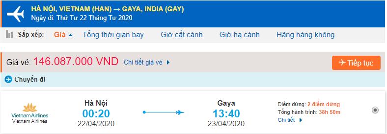 Vé máy bay từ Hà Nội đi Gaya giá rẻ Vietnam Airlines