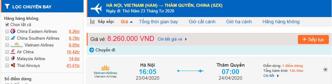 Vé máy bay từ Hà Nội đi Thâm Quyến