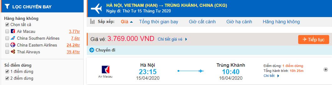 Vé máy bay từ Hà Nội đi Trùng Khánh