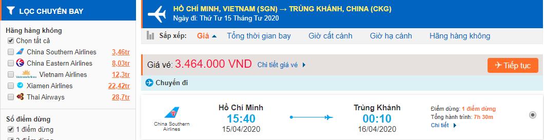 Vé máy bay từ Sài Gòn đi Trùng Khánh