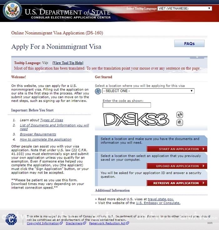 Bước 1: Truy cập trang web của Đại sứ quán Mỹ để điền đơn DS 160