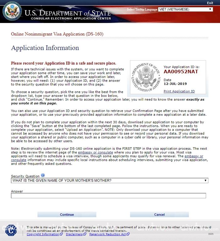 Bước 2: Điền thông tin vào đơn DS 160