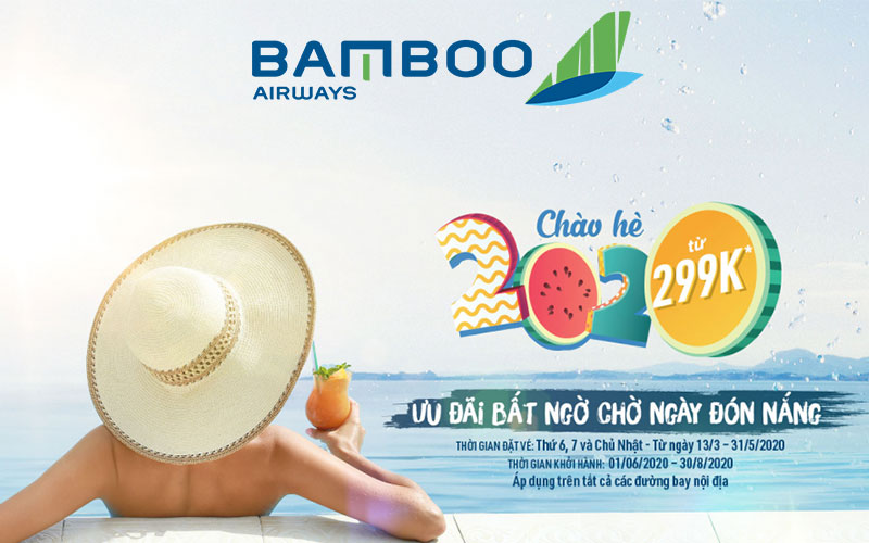"""Khuyến mãi """"bất ngờ chờ ngày đón nắng"""" cùng Bamboo Airways chỉ từ 299K"""