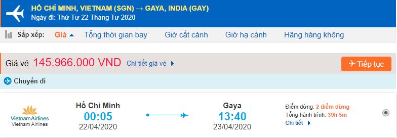 Vé máy bay từ Tp HCM đi Gaya Vietnam Airlines
