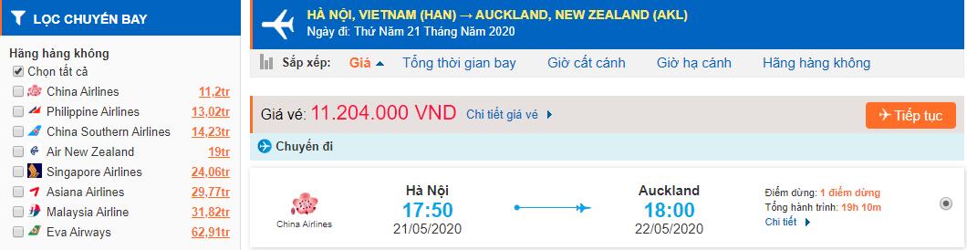 Vé máy bay từ Hà Nội đi Auckland giá rẻ