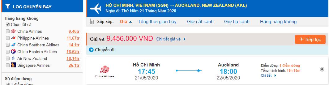 Vé máy bay từ tp Hồ Chí Minh đi Auckland