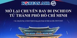 Korean Air mở lại chuyến bay đi Incheon từ Hồ Chí Minh