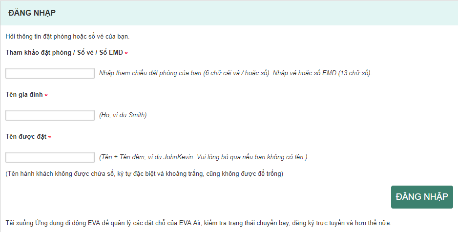 Hướng dẫn check in online Eva Air đơn giản nhanh chóng