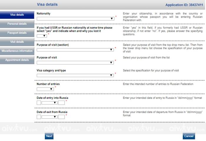 Hướng dẫn điền tờ khai xin visa Nga mới nhất (4)