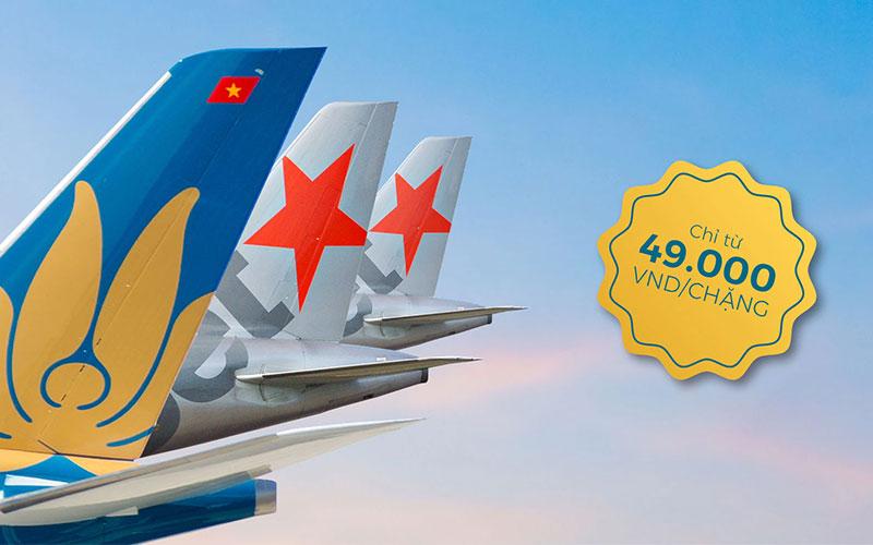 Khuyến mãi đặc biệt từ Vietnam Airlines và Jetstar Pacific chỉ 49.000 VND