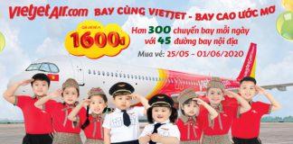 Khuyến mãi 1/6 từ Vietjet Air vé máy bay chỉ từ 1.600 đồng