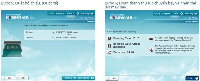 Quy trình làm thủ tục lên máy bay tại quầy của Korean Air
