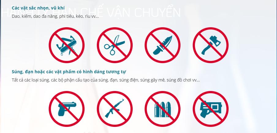 Hành lý bị cấm mang theo dưới dạng xách tay và ký gửi của Vietnam Airlines