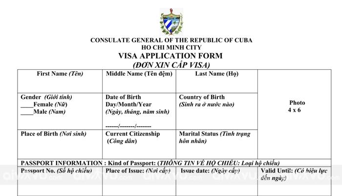 Hướng dẫn điền tờ khai xin visa Cuba mới nhất