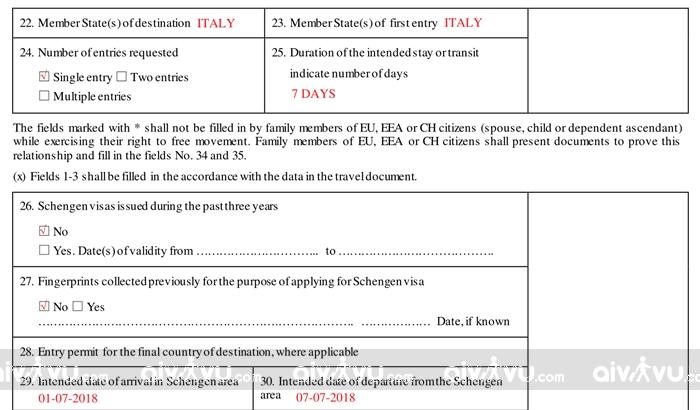 Hướng dẫn điền tờ khai xin visa Italia mới nhất