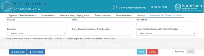 Bước 8: References EU, EEA or CH citizens – Thông tin công dân các khối EU, EEA hay CH