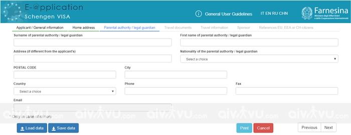 Bước 4: Parental authority/legal guardian – Thông tin bố mẹ/người giám hộ hợp pháp