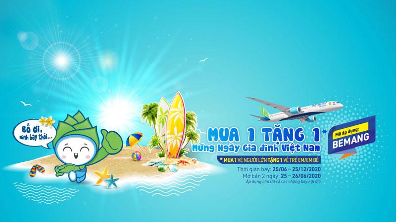 Bamboo Airways khuyến mãi mua 1 tặng 1 mừng ngày gia đình Việt Nam