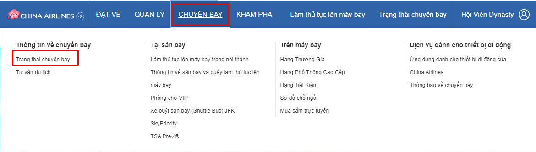 Kiểm tra thông tin chuyến bay China Airlines như thế nào?
